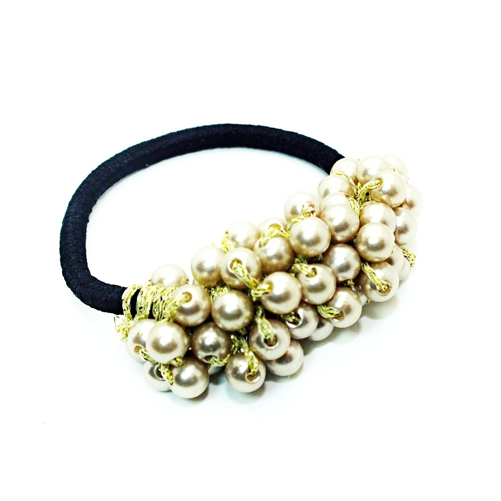 Crystal Pearl Hair Tie In Gold White