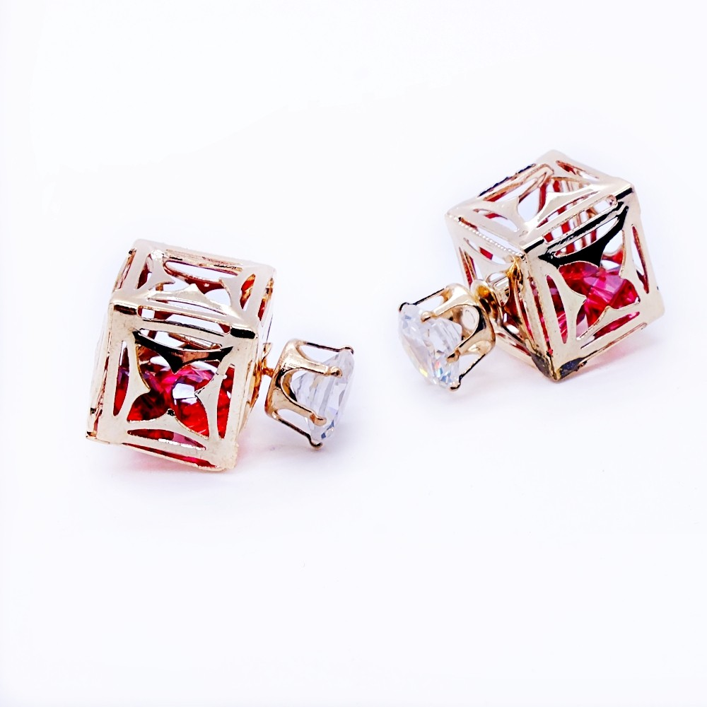 Square Cubic Stud Stone Earrings Red
