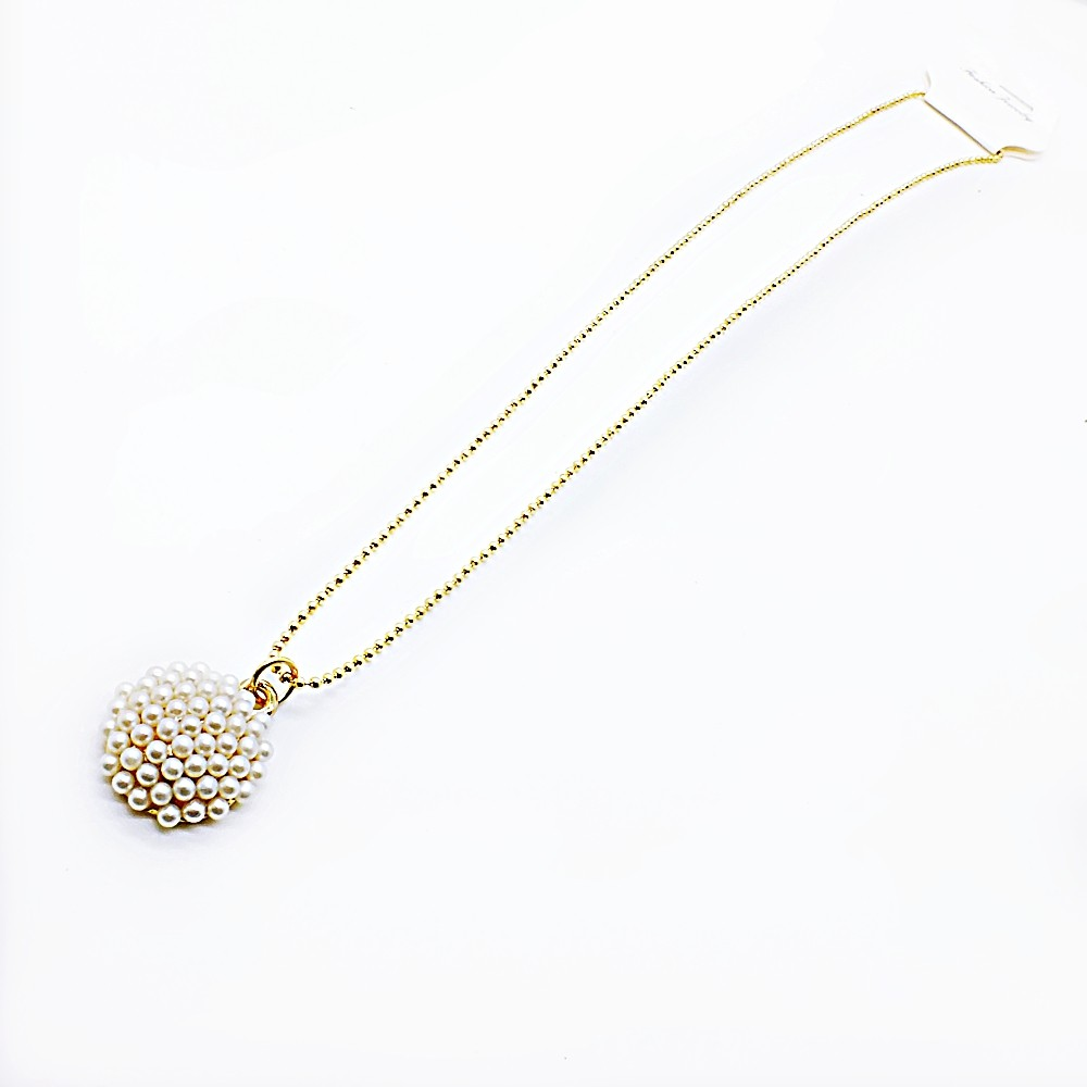 Gold tone Snow Ball White Freshwater Cultured Pearl Pendant Necklace and Stud Earrings Jewelry Set