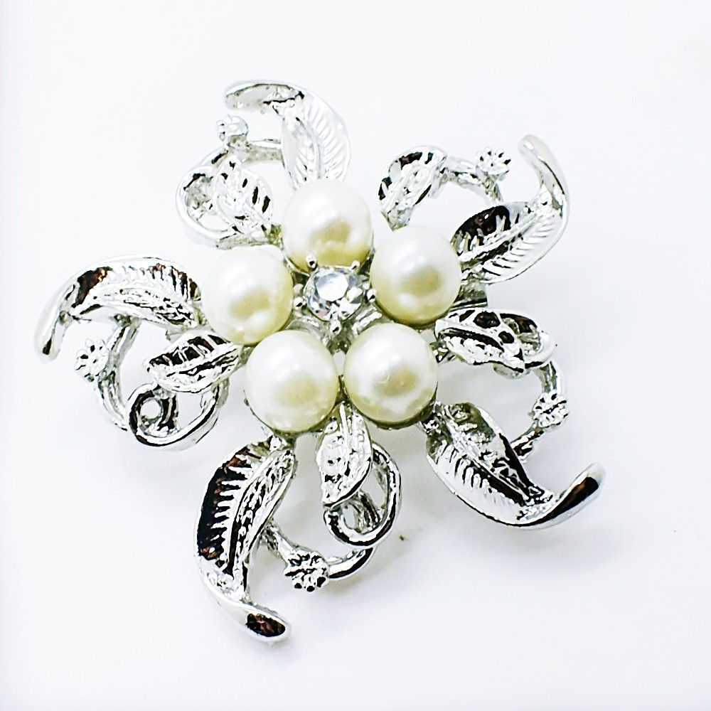 Crystal Silver Plated Brooch