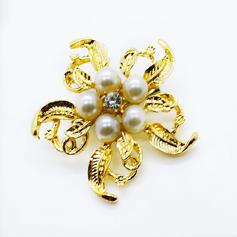 Crystal Gold Plated Brooch