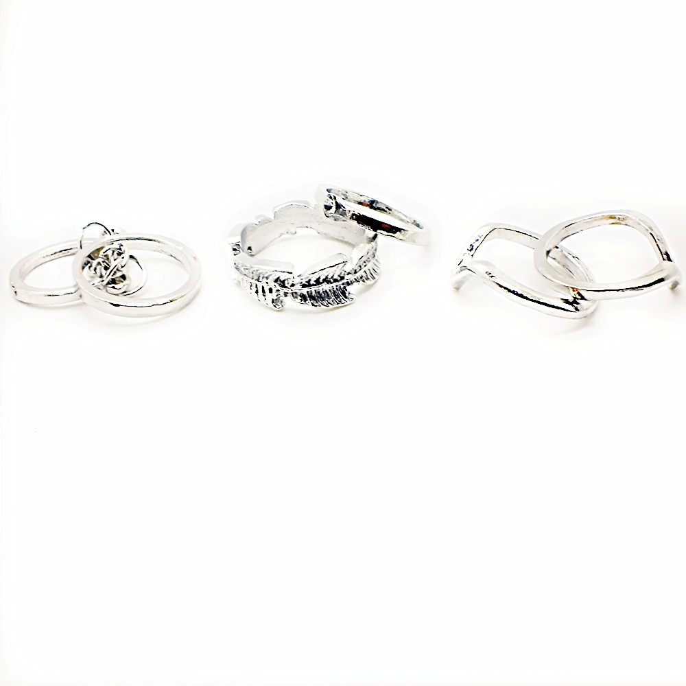 6 pc Silver Plated Ring Set