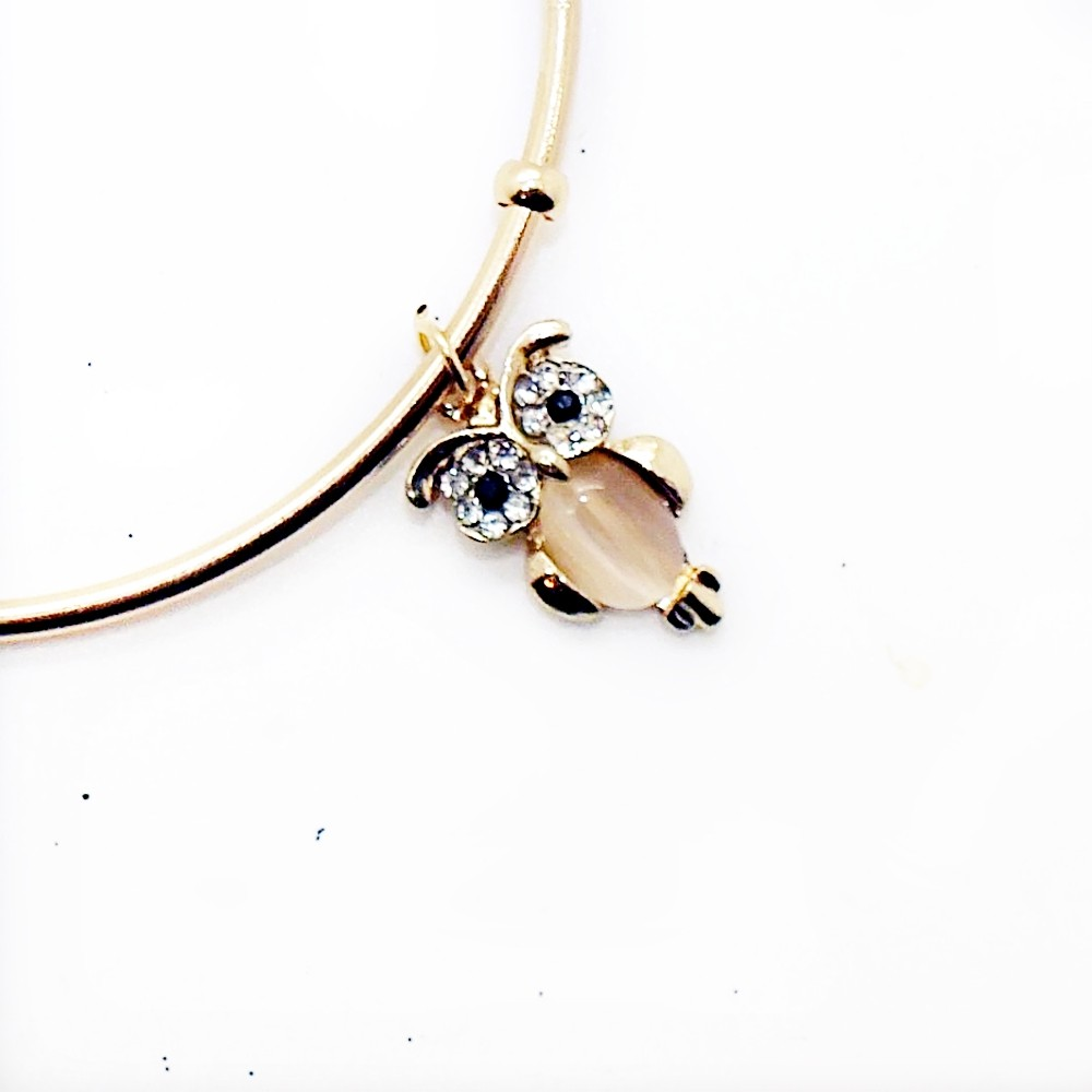 Beautiful Crystal Owl Open Cuff Charm Bangle Bracelet