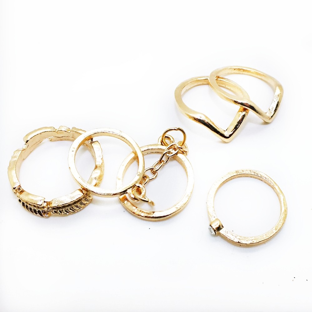 6 pc Gold Plated Ring Set