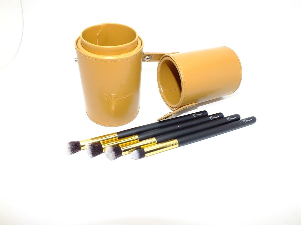 Gold Mini Leather Brush Cup Holder Case