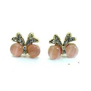 Gold Tone Pink Crystals Screw Back Butterfly Women and Teen earrings