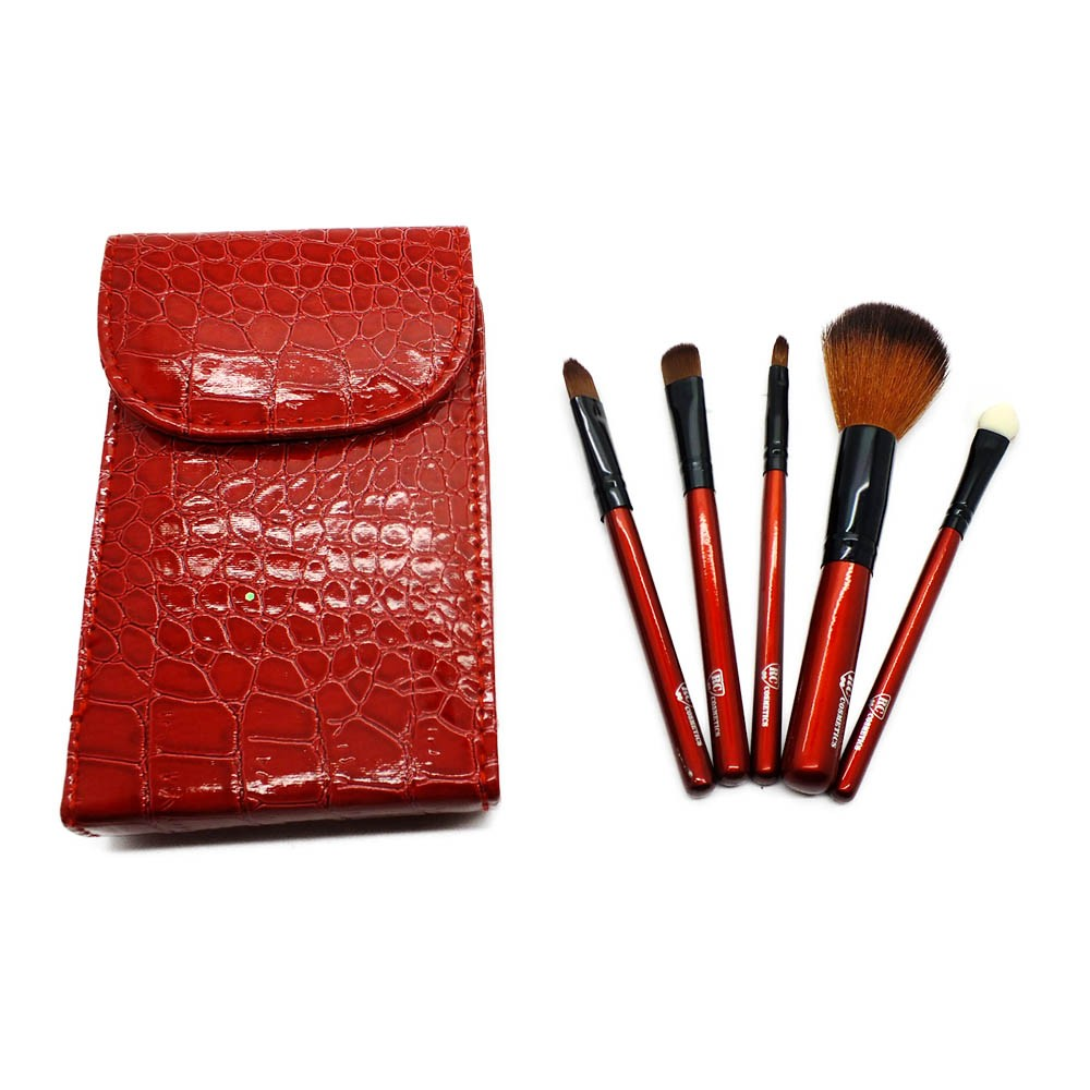 Red Croc 5 Piece Professional Makeup Brush Travel Set