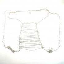 Body Chain Jewelry Silver Body Harness with Fine Chain Multirow Fashion Jewelry Classic Design