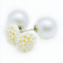 Women's Silver tone Double Sided Crown Crystal Pearl Stud Earrings