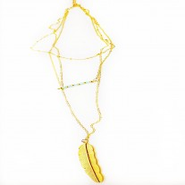 Feather Tassel Alloy Pendant Multi layer Necklace