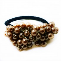 Crystal Peal Hair Tie in Brown