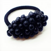 Crystal Pearl Hair Tie In Black