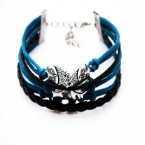 Fashion Women Lovely Infinity Owl Multilayer Charm Leather Bracelet