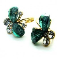 Fashion CZ Stone Flying Butterfly Crystal Stud Earrings