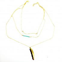 Feather Tassel Alloy Pendant Multilayer Necklace
