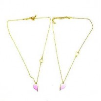 Gold color Broken Heart Piece Necklace