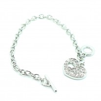 Stainless Steel Trendy Cable Chain Bracelet with Heart Charm and Toggle Clasp Closure, High Polished Finished
