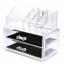 Two Drawers Makeup Organizer and Lipstick Holder Combo